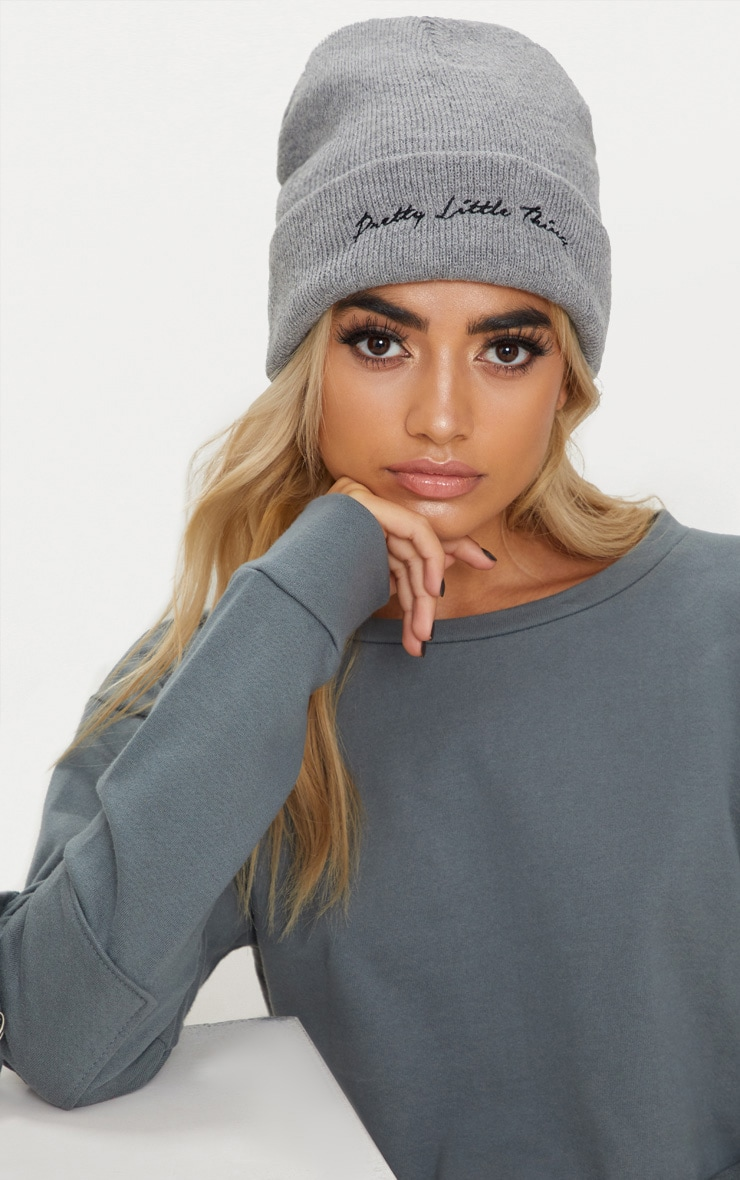 PRETTYLITTLETHING Light Grey Embroidered Beanie 3