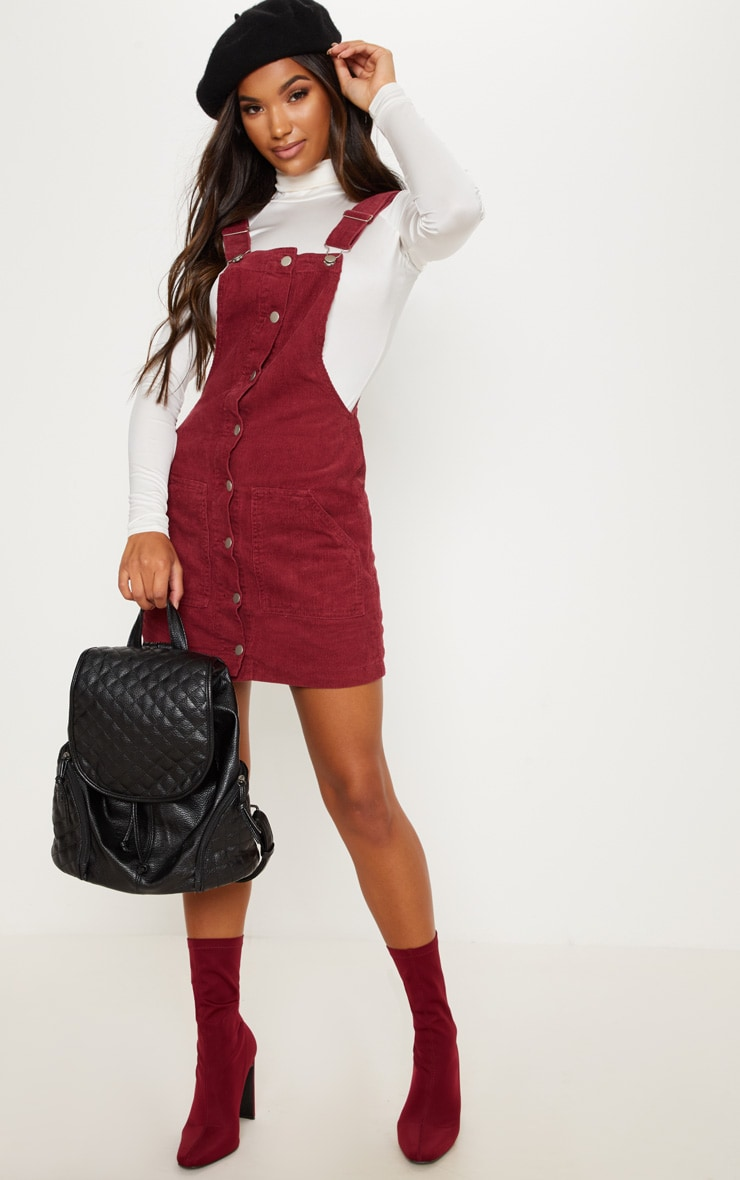 Burgundy Cord Pinafore 4
