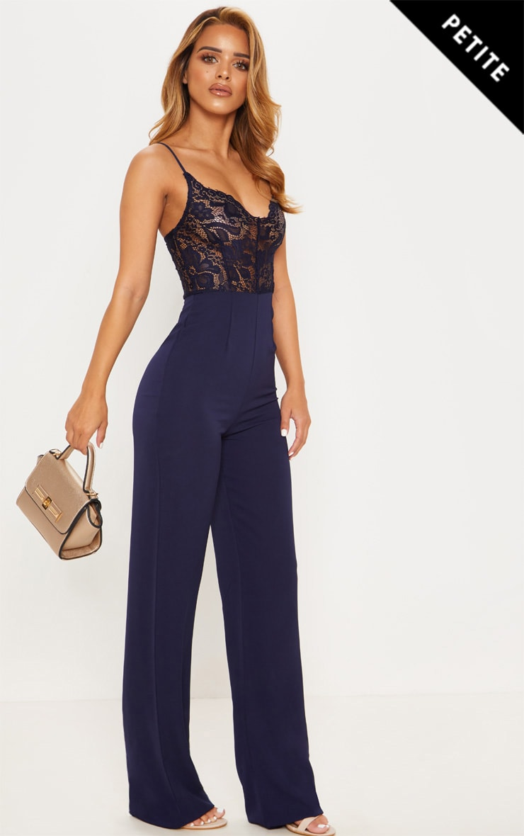 Petite Navy Lace Wide Leg Jumpsuit