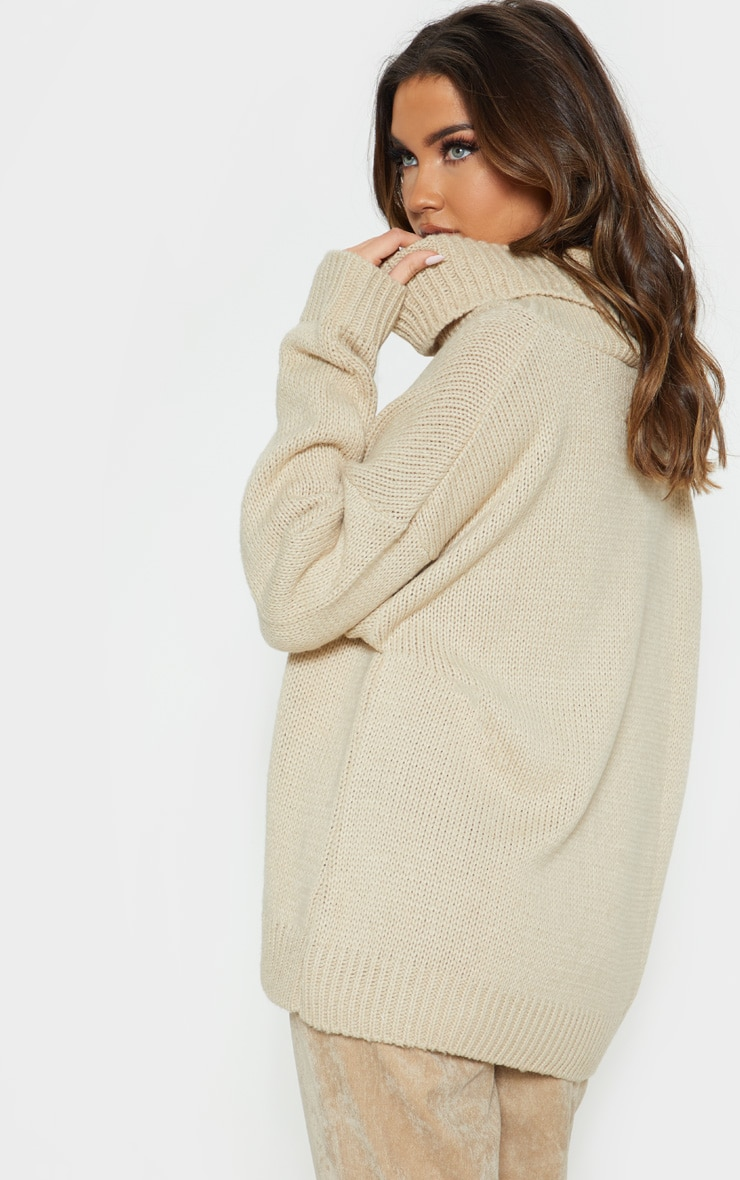 Stone High Neck Fluffy Knit Jumper  2