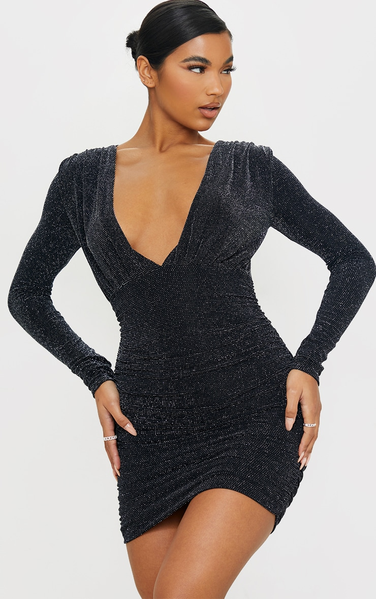 Black Textured Glitter Plunge Ruched Long Sleeve Bodycon Dress 1