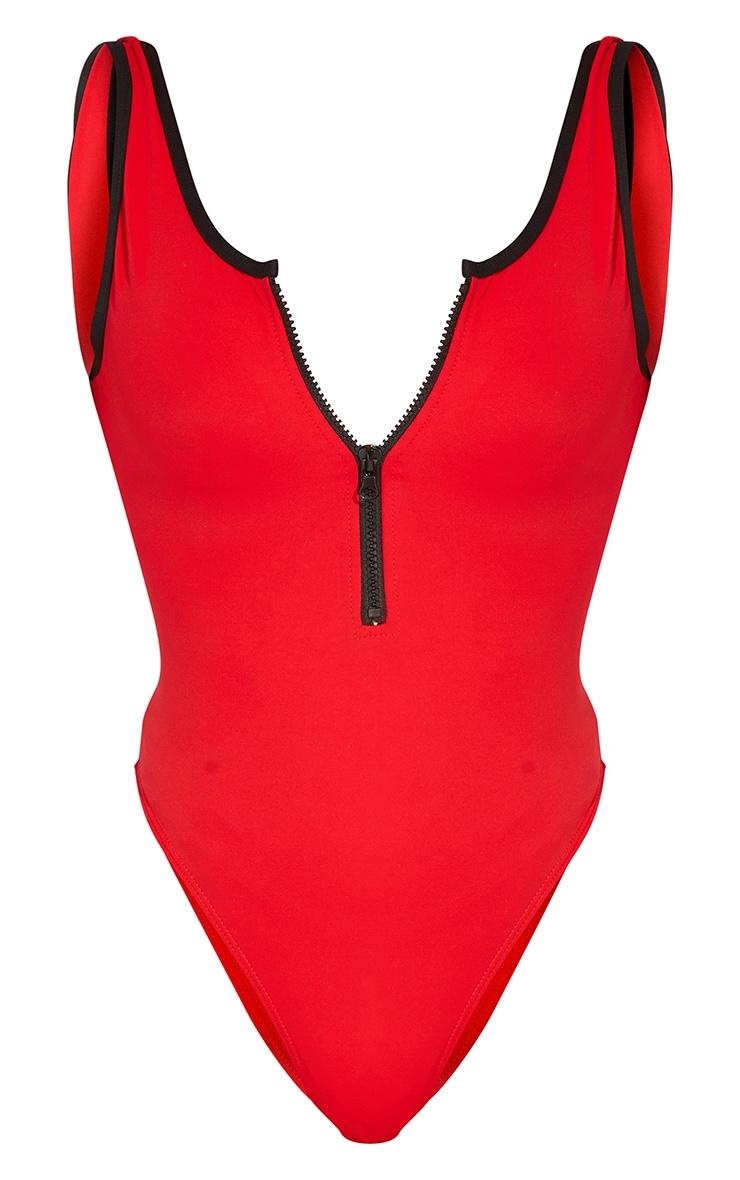 Red Contrast Zip Front Scuba Swimsuit 5