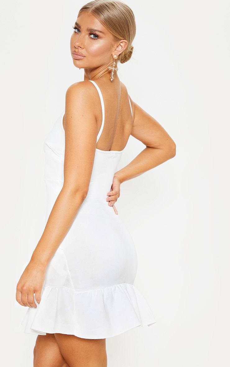 White Strappy Asymmetric Hem Bodycon Dress 2