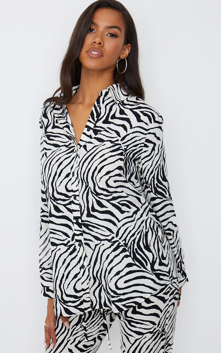 Black Zebra Print Oversized Shirt 1