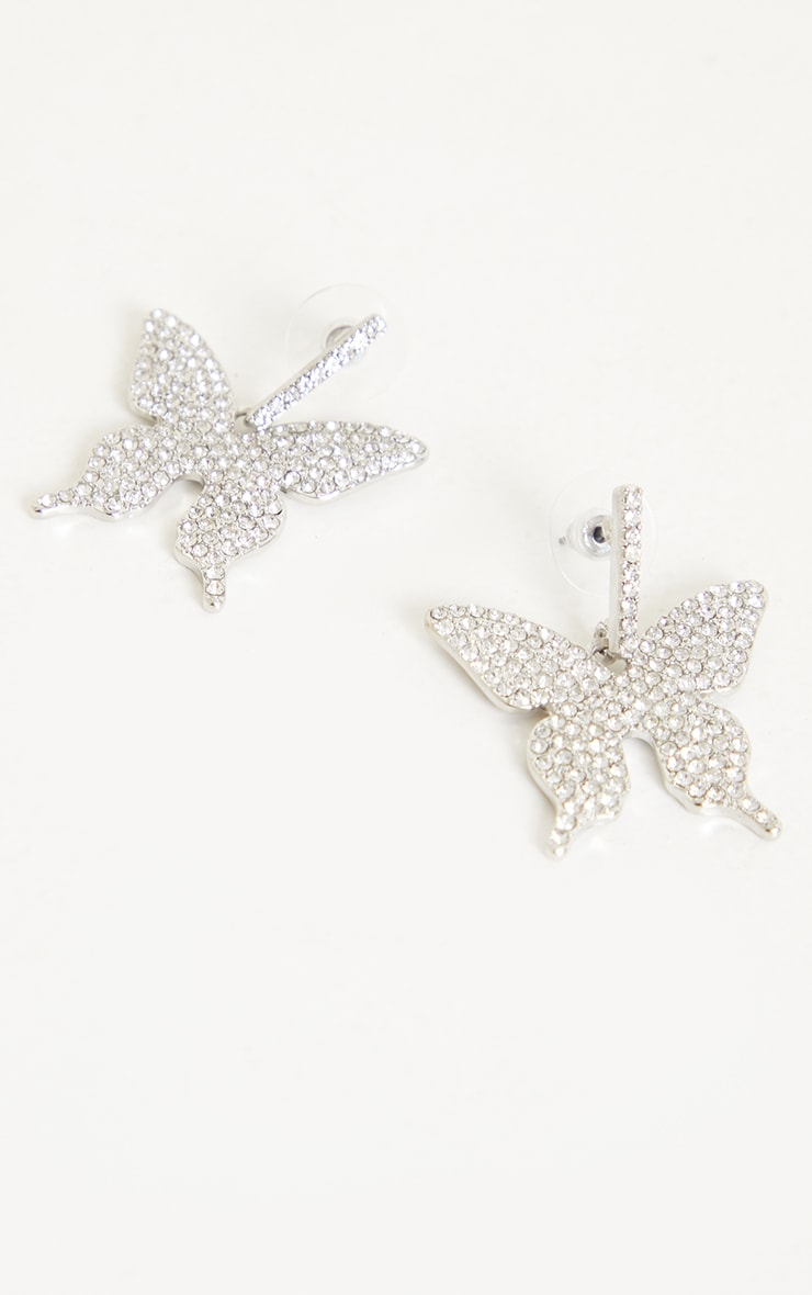 Silver Pave Butterfly Earrings 2