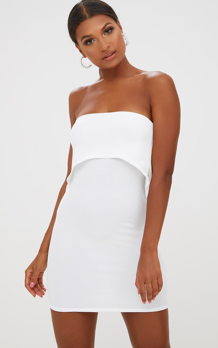 White Bandeau Overlay Bodycon Dress 1