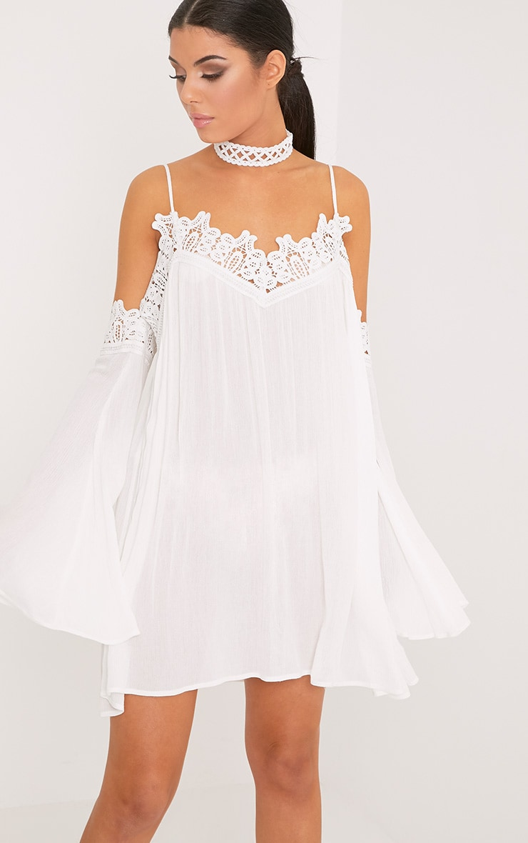 Marisol White Cheesecloth Cold Shoulder Choker Swing Dress 1