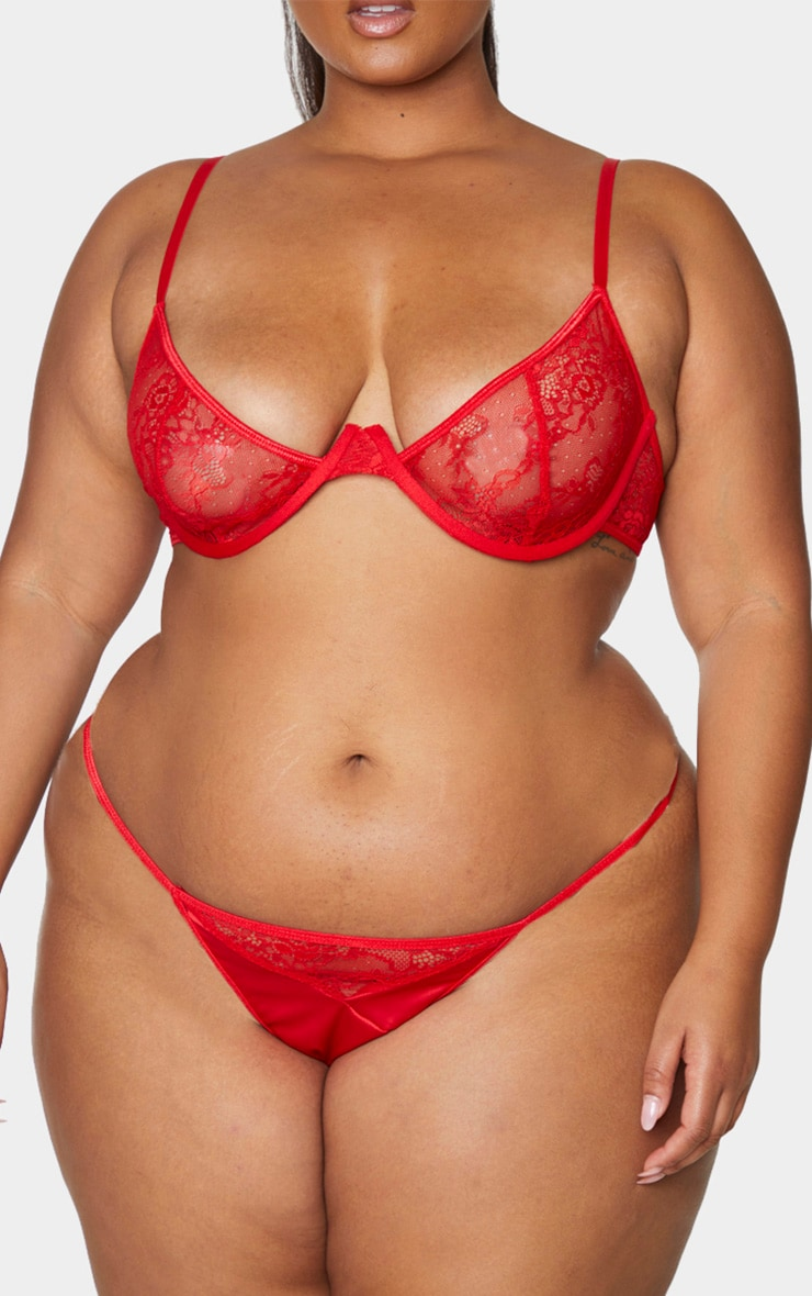 Plus Red Floral Lace And Satin G-String 1