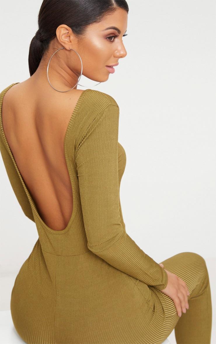 Khaki Ribbed Long Sleeve Scoop Back Jumpsuit 5