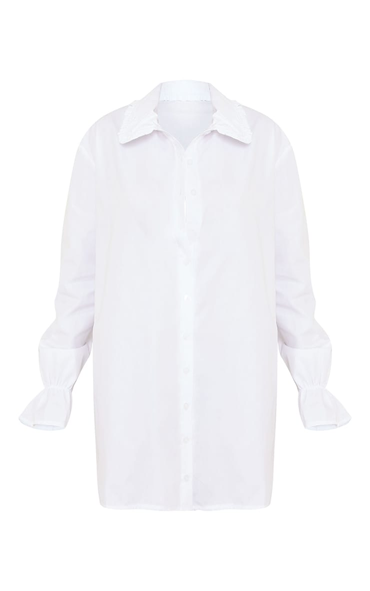 White Frill Collar Cuff Detail Shirt Dress 5