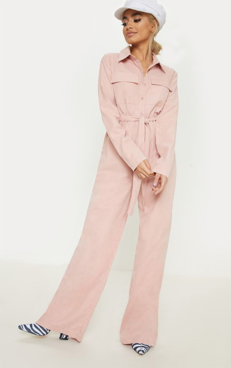 Petite Pink Faux Suede Button Up Jumpsuit 1