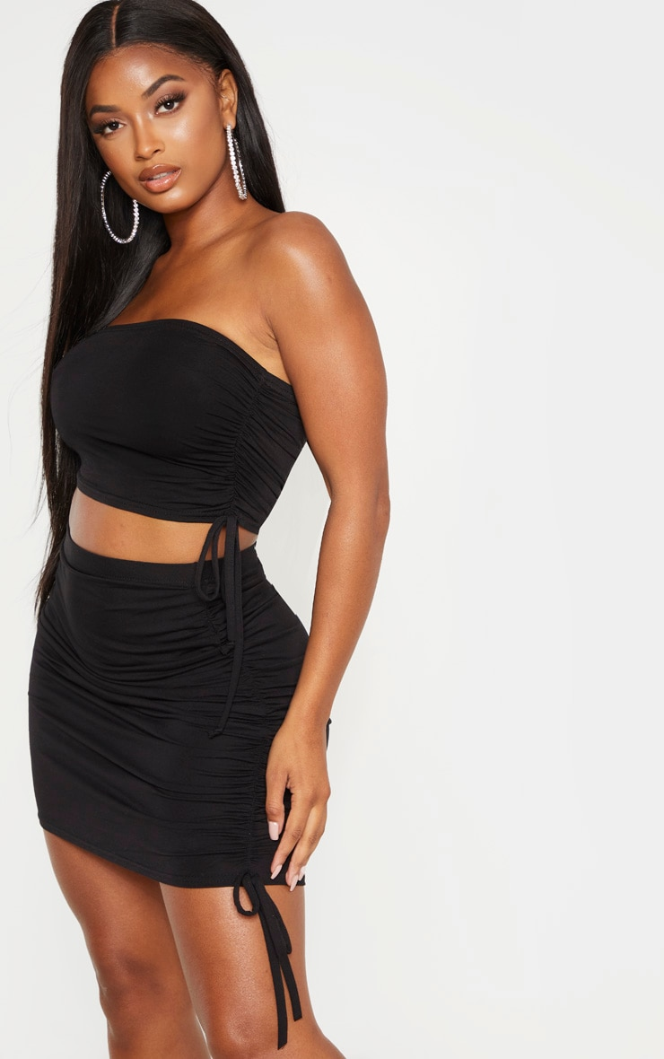 Shape Black Jersey Ruched Side Bodycon Skirt 1