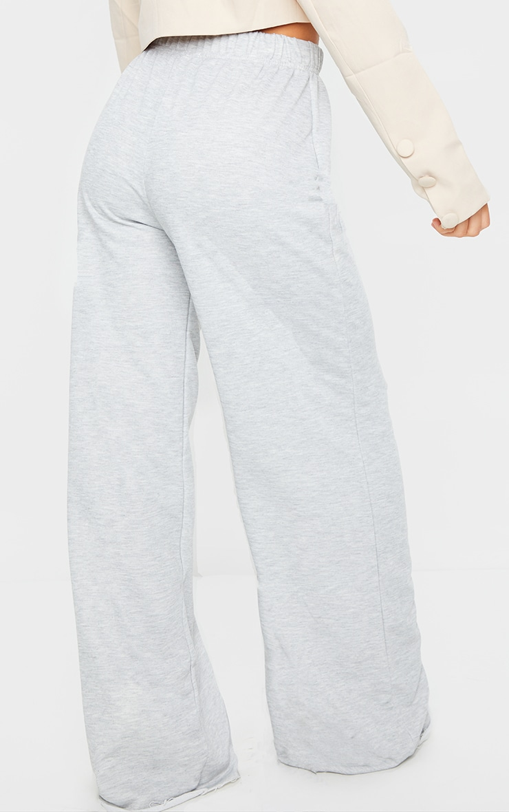 Grey Marl Ripped Knee Wide Leg Joggers 3