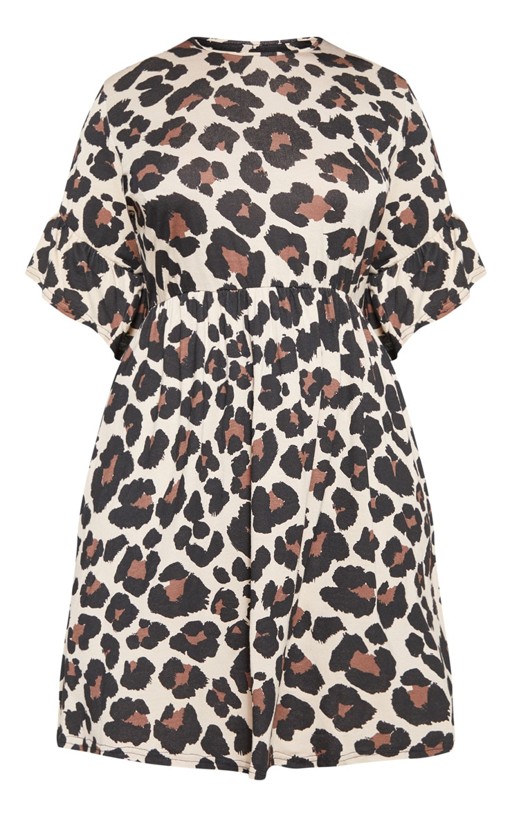 Plus Brown Leopard Print Frill Detail Smock Dress 3
