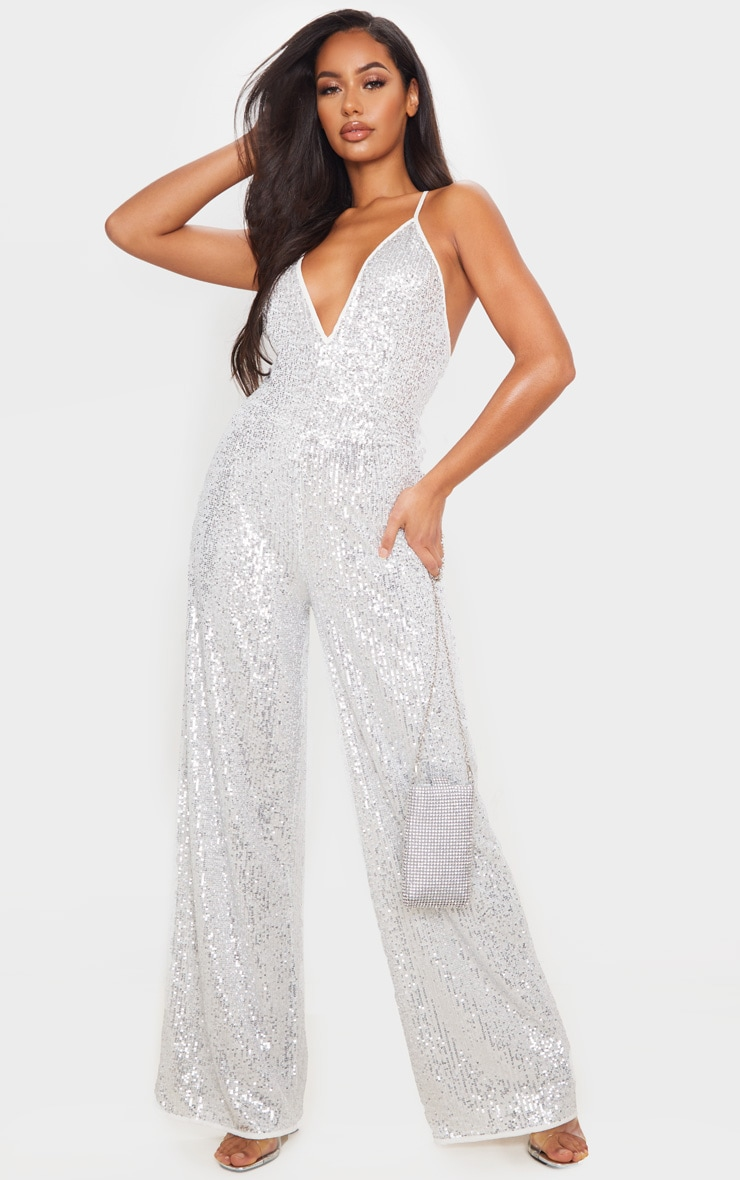 Silver Strappy Sequin Plunge Jumpsuit 1