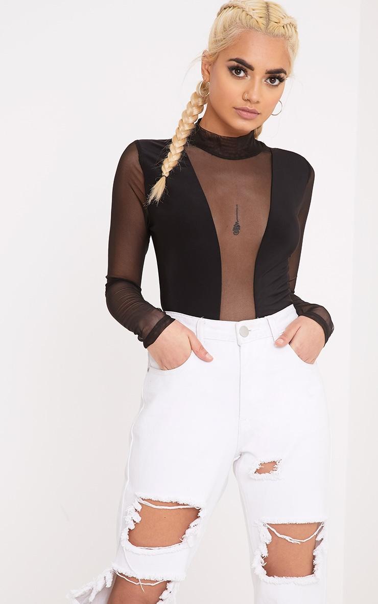 Aleda Black Mesh Slinky Longsleeve Thong Bodysuit 1