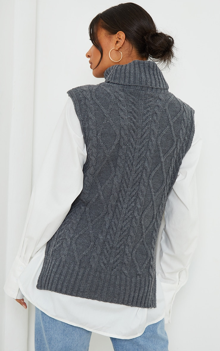 Charcoal Longline Sleeveless Cable Roll Neck Jumper 2