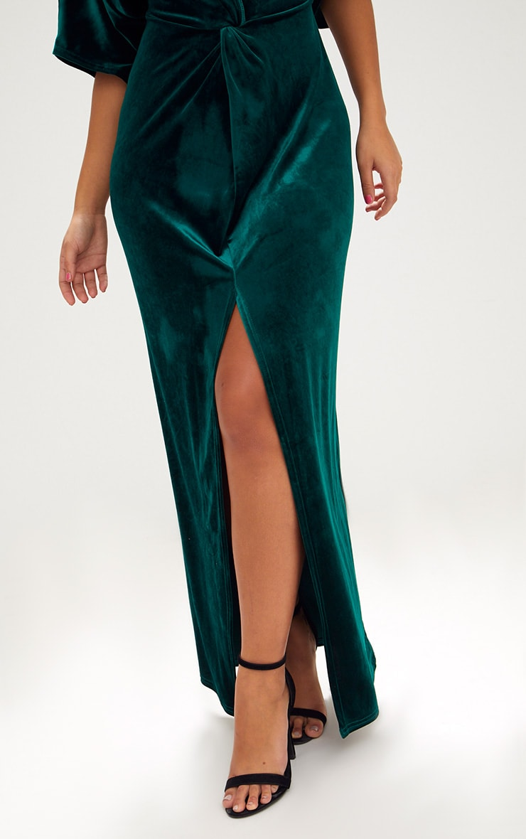 Emerald Green Velvet Kimono Sleeve Maxi Dress 5