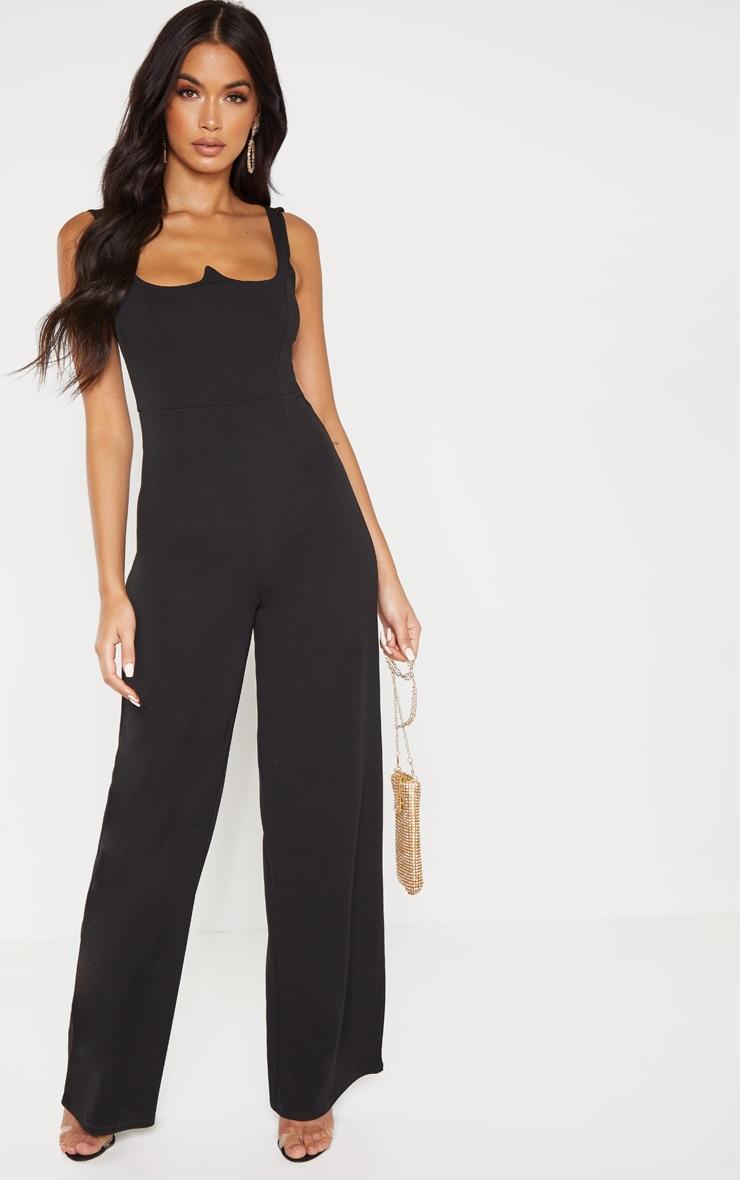 Black Structured Bodice Wide Leg Jumpsuit 1