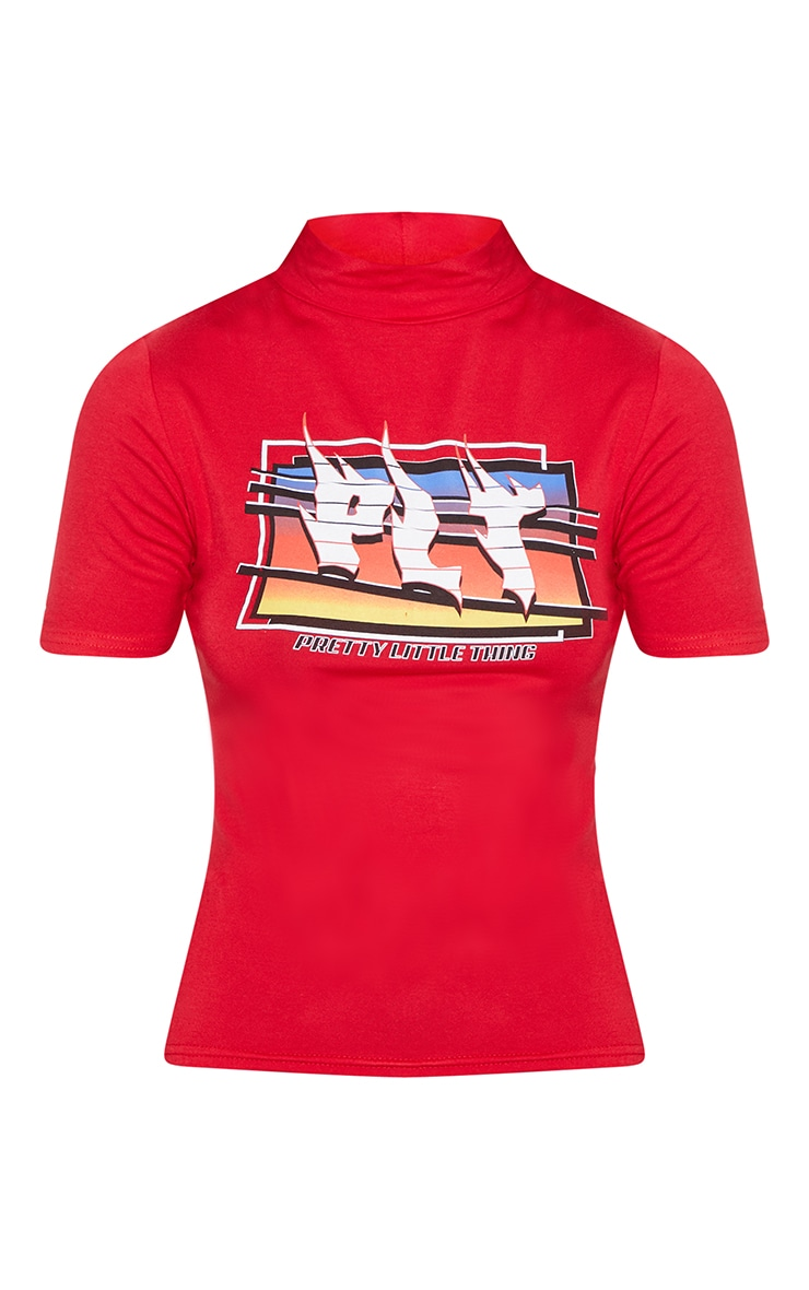 PRETTYLITTLETHING Red Flame Slogan T-Shirt 3