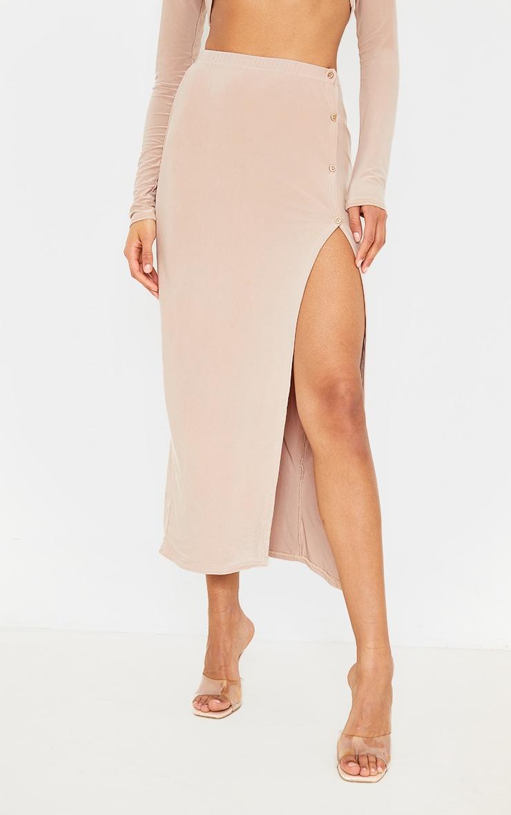 Stone Slinky Button Detail Split Leg Midaxi Skirt 3