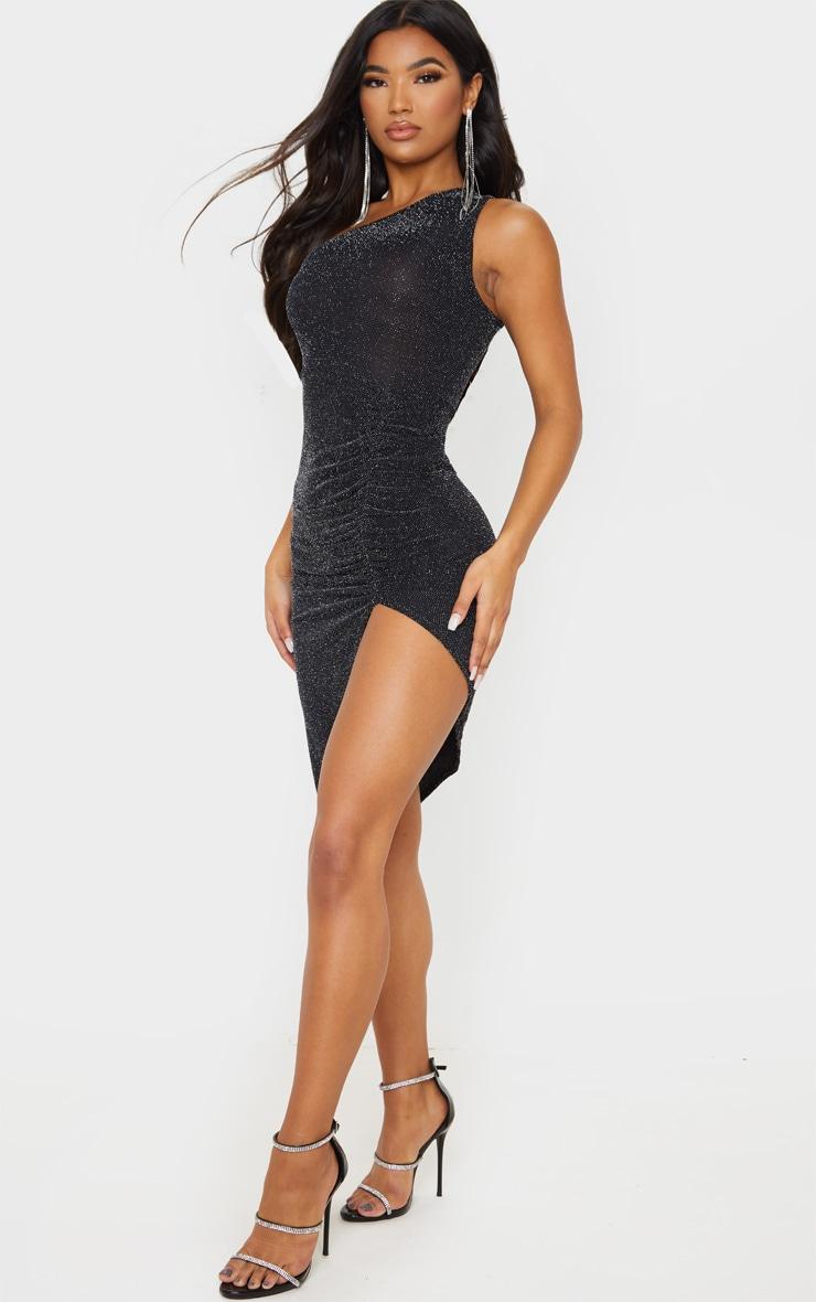 Black Textured Glitter One Shoulder Ruched Midi Dress 4