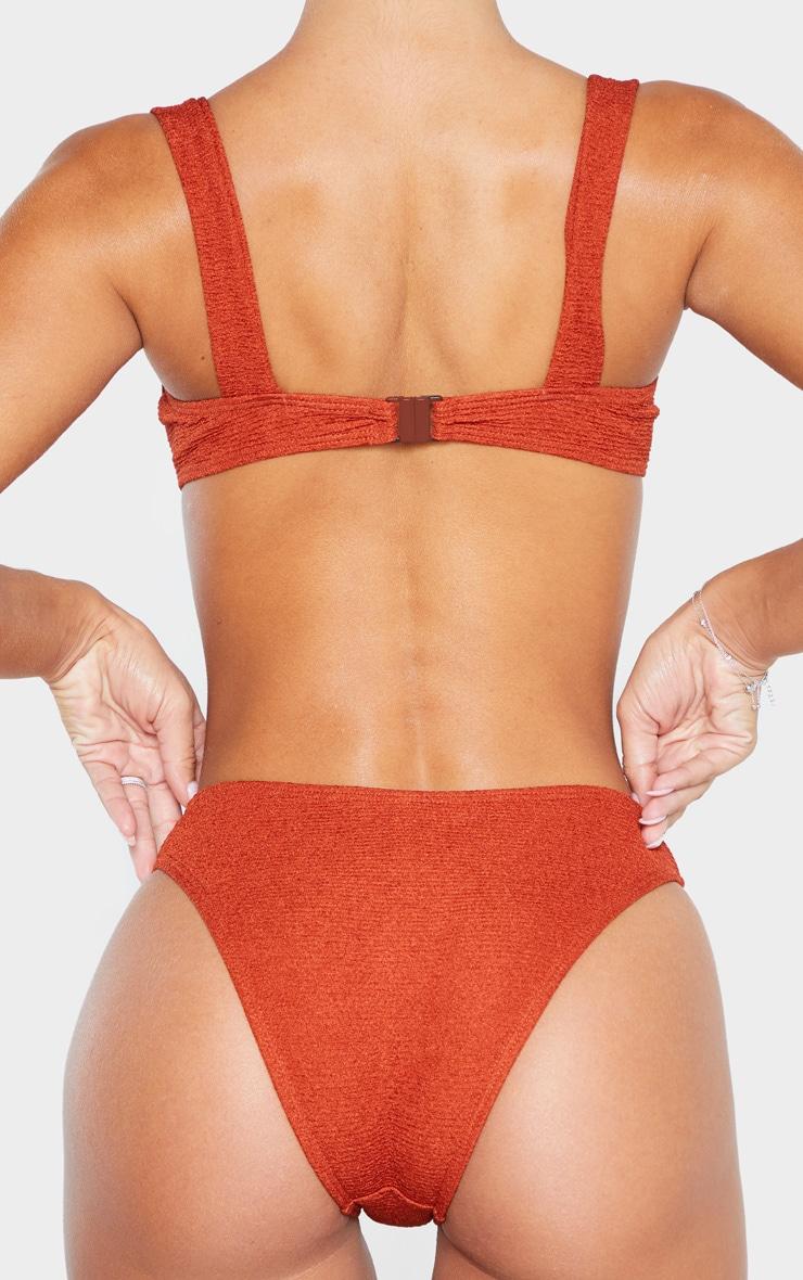 Brown Mini Crinkle Cheeky Bum Bikini Bottom 3