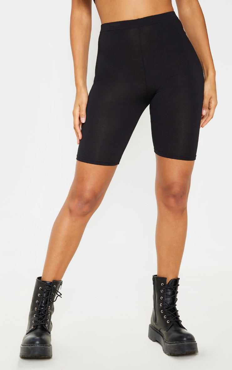 Black Basic Jersey 2 Pack Cycle Shorts 2
