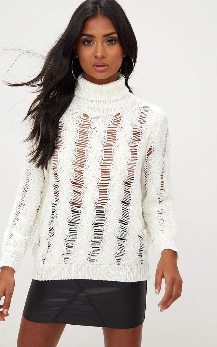 Cream Roll Neck Distressed Knitted Jumper  1