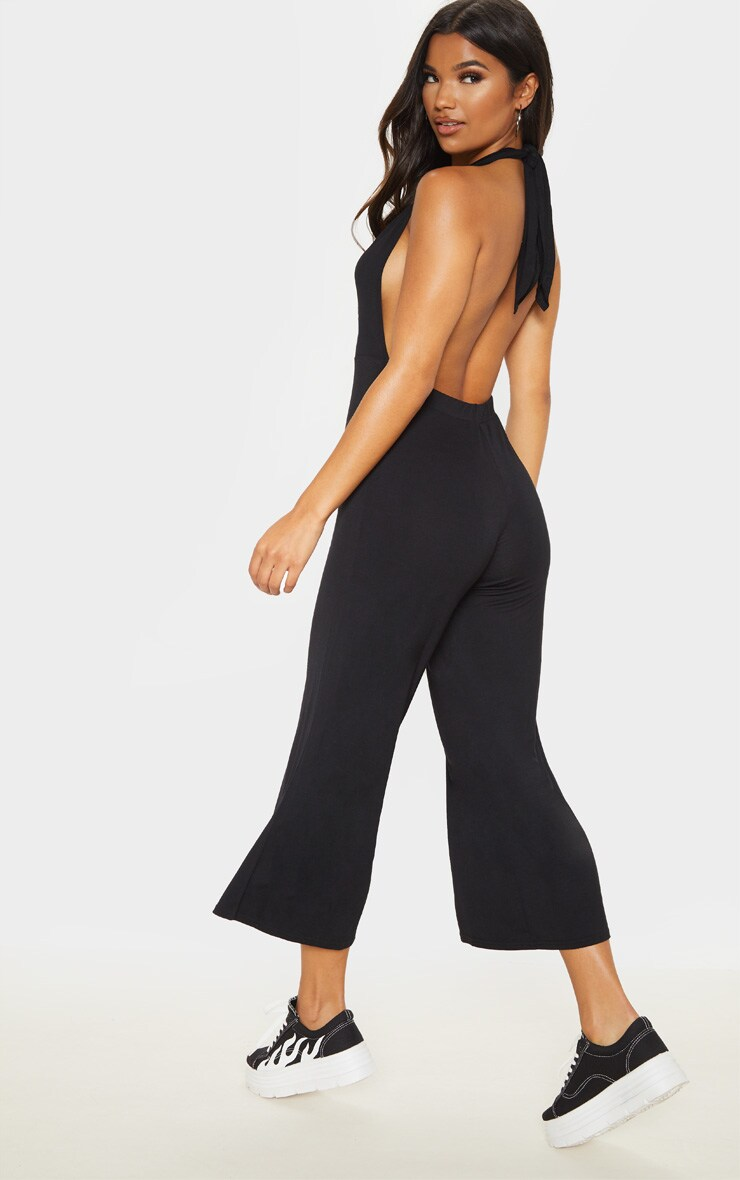 Black Jersey Halterneck Culotte Jumpsuit 2