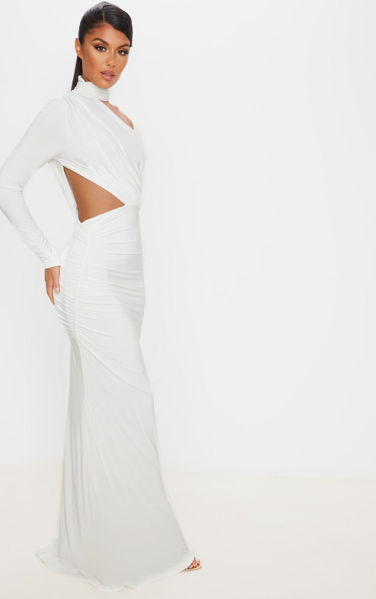 White Ruched One Shoulder Maxi Dress 4