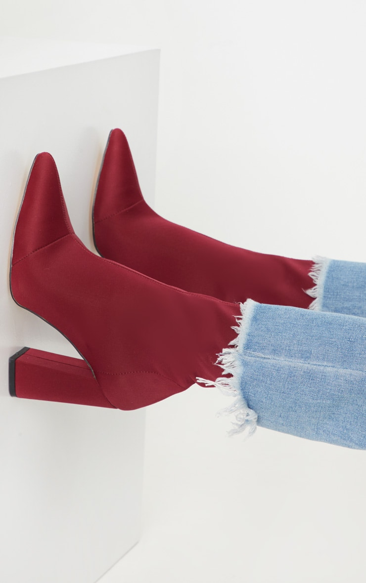 Burgundy Point Lycra Sock Boot 1