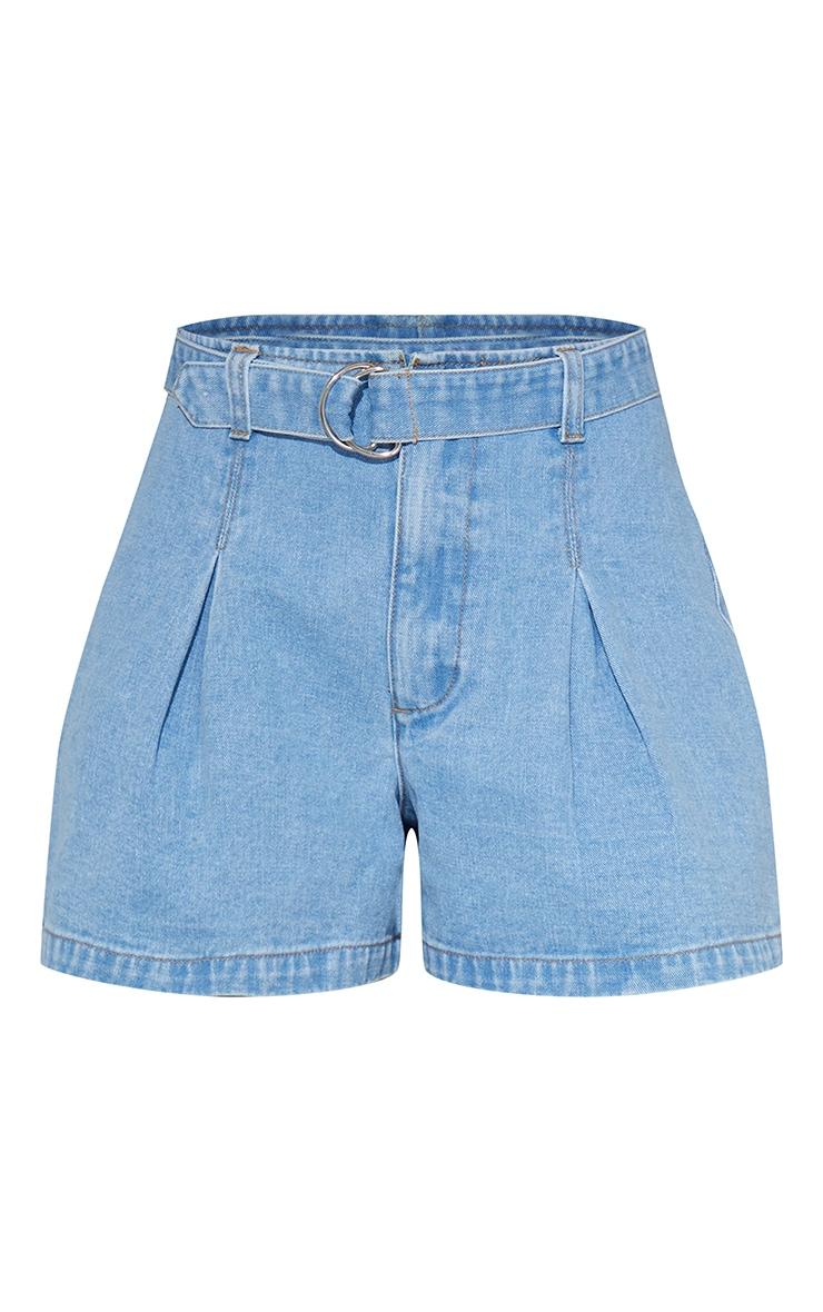 Light Blue Wash Belted Denim Shorts 6