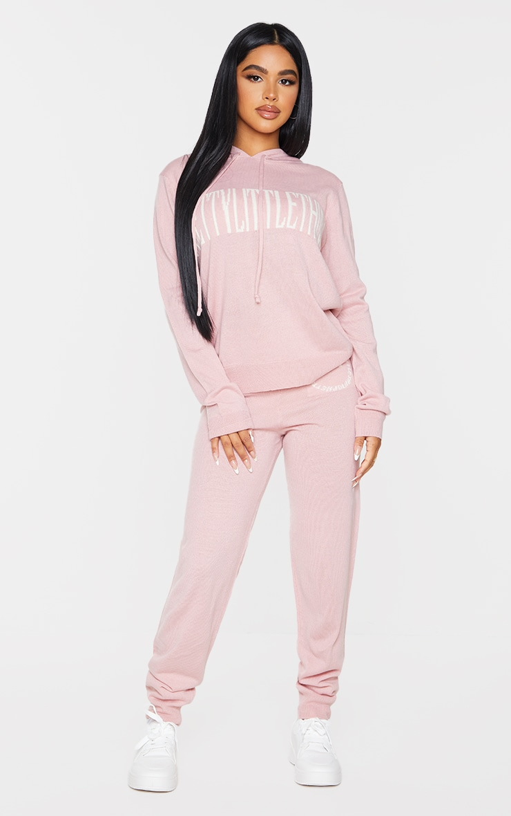 PRETTYLITTLETHING Petite Pink Knitted Hoodie 3