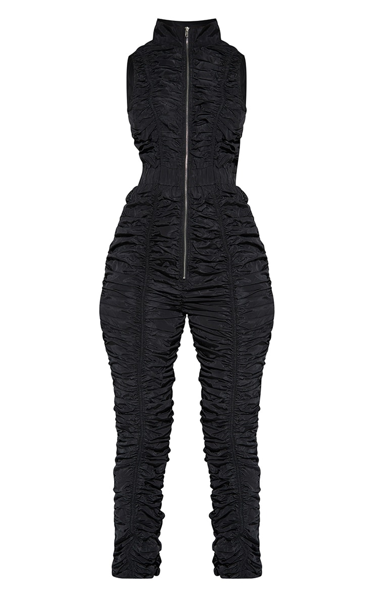Black Ruched Shell Sleeveless Zip Jumpsuit 5