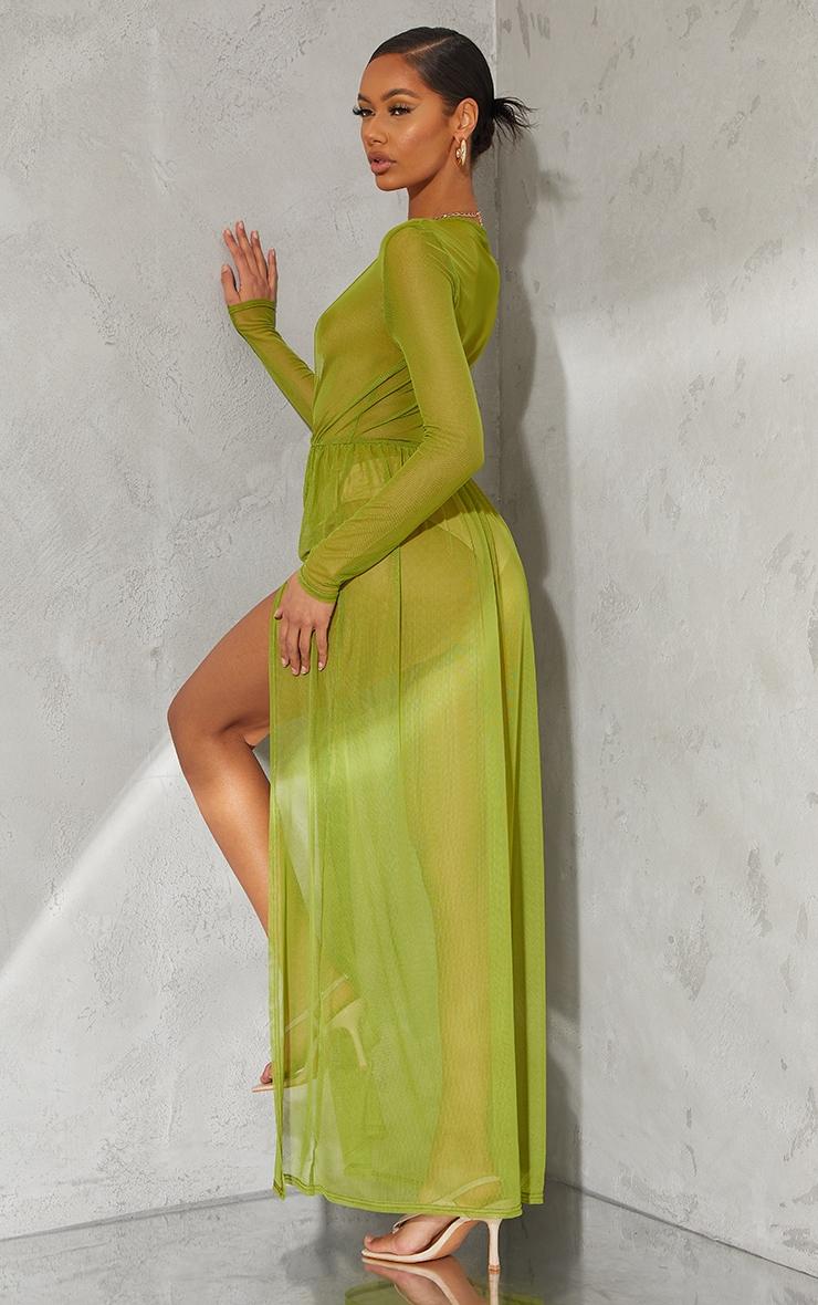 Olive Sheer Mesh Plunge Long Sleeve Split Maxi Dress 2