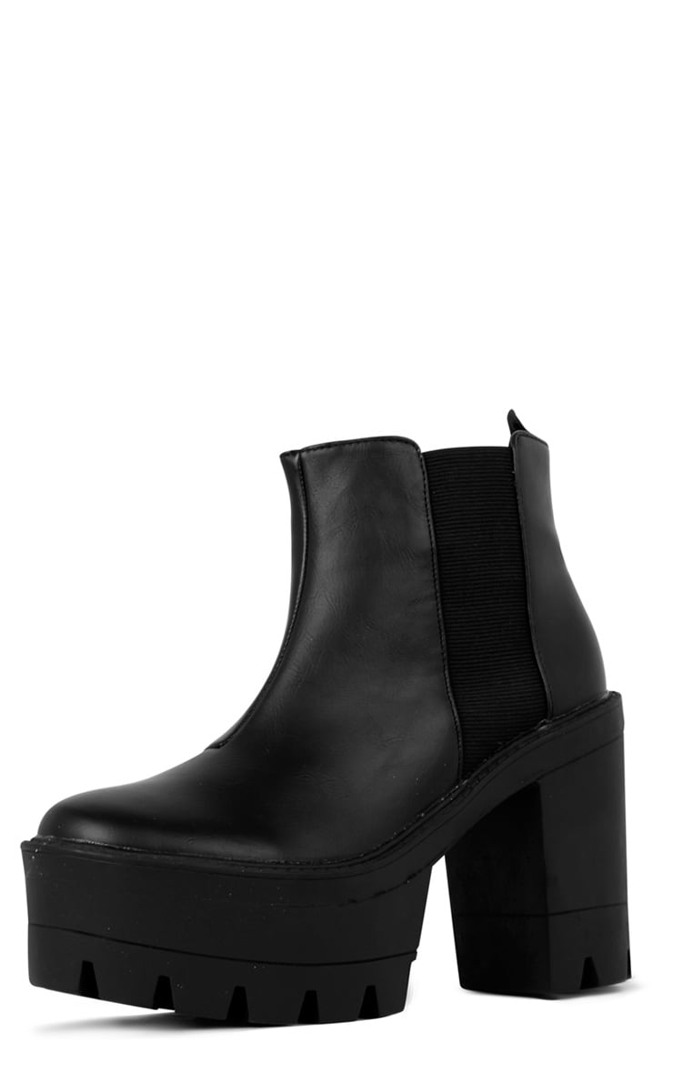 Coco Black Leather Chunky Chelsea Boot  2