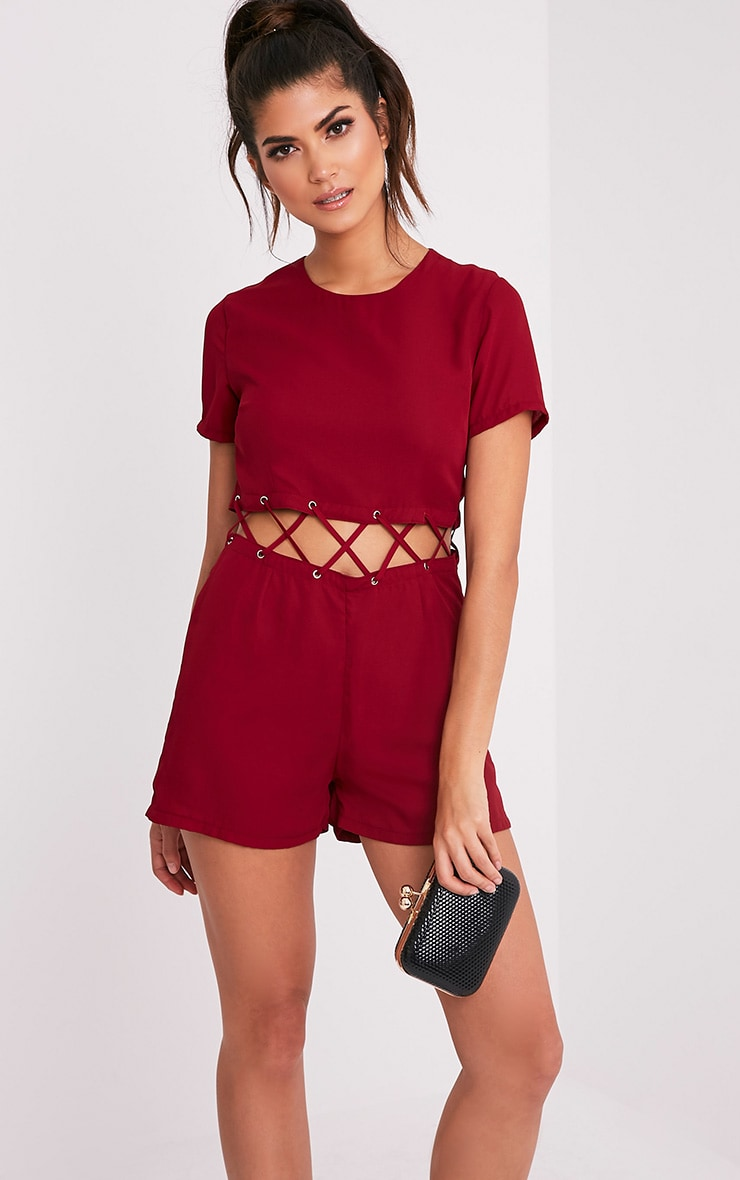Sophi Burgundy Strappy Detail Playsuit 3