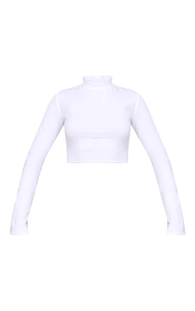 White High Neck Long Sleeve Crop Top 5