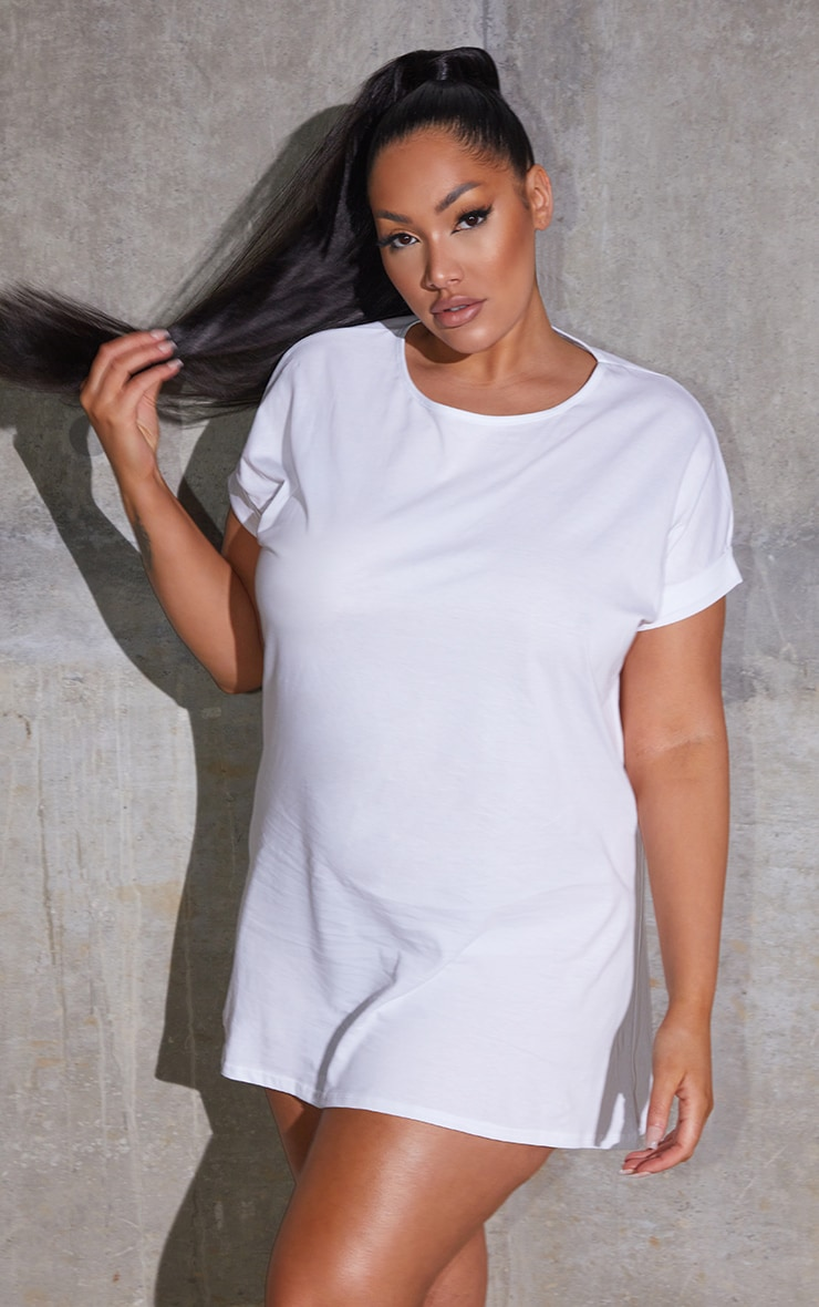 Plus White Oversized Roll Sleeve T-Shirt Dress 1