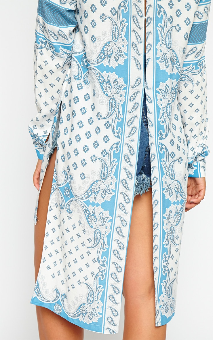 Katrina White Paisely Print Shirt Dress 5