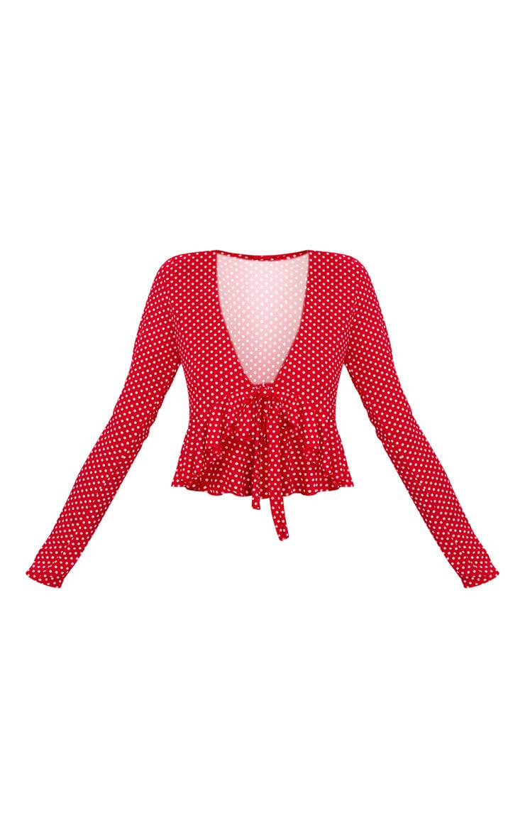 Red Polka Dot Frill Detail Tie Front Crop Top 3
