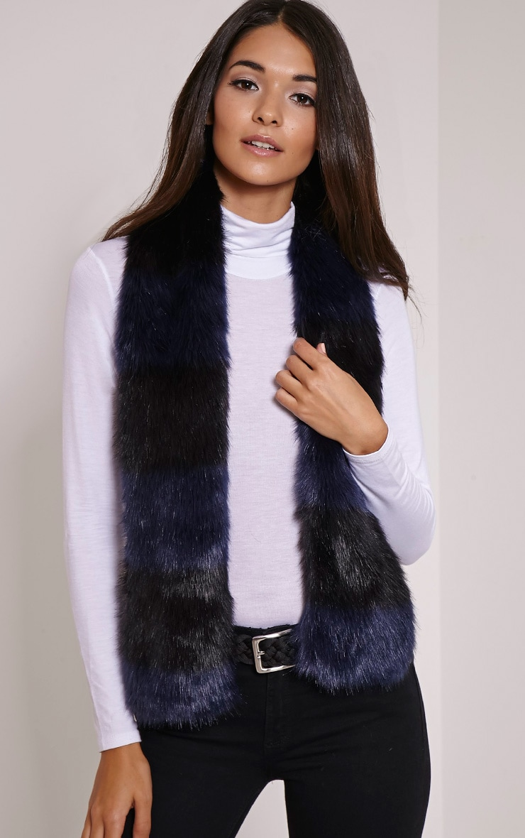 Toni Navy Striped Faux Fur Scarf 1