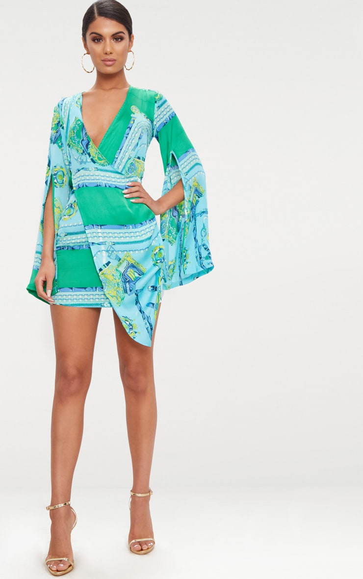 Turquoise  Scarf Print Flared Sleeve Wrap Bodycon Dress 4