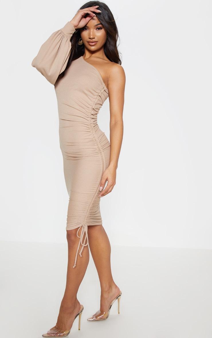 Stone Rib One Sleeve Ruched Midi Dress 4