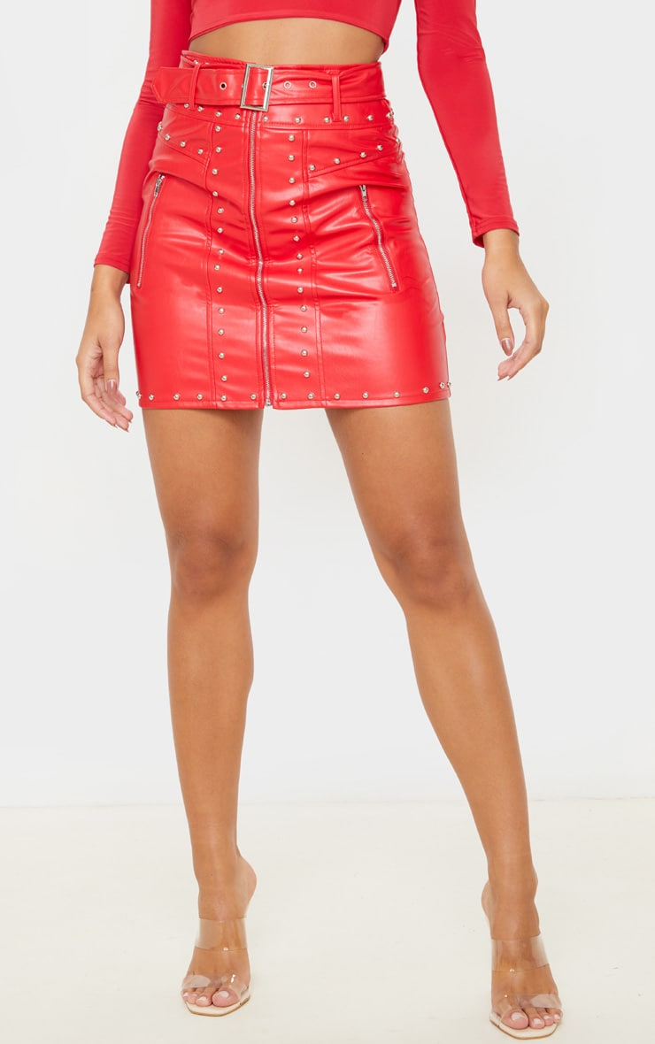 Red Faux Leather Stud Detail Belted Mini Skirt 2