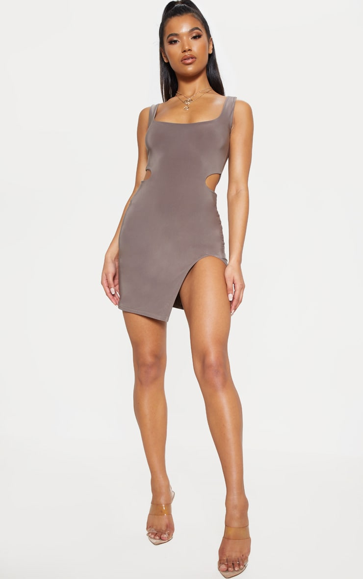 Taupe Slinky Cut Out Bodycon Dress 4