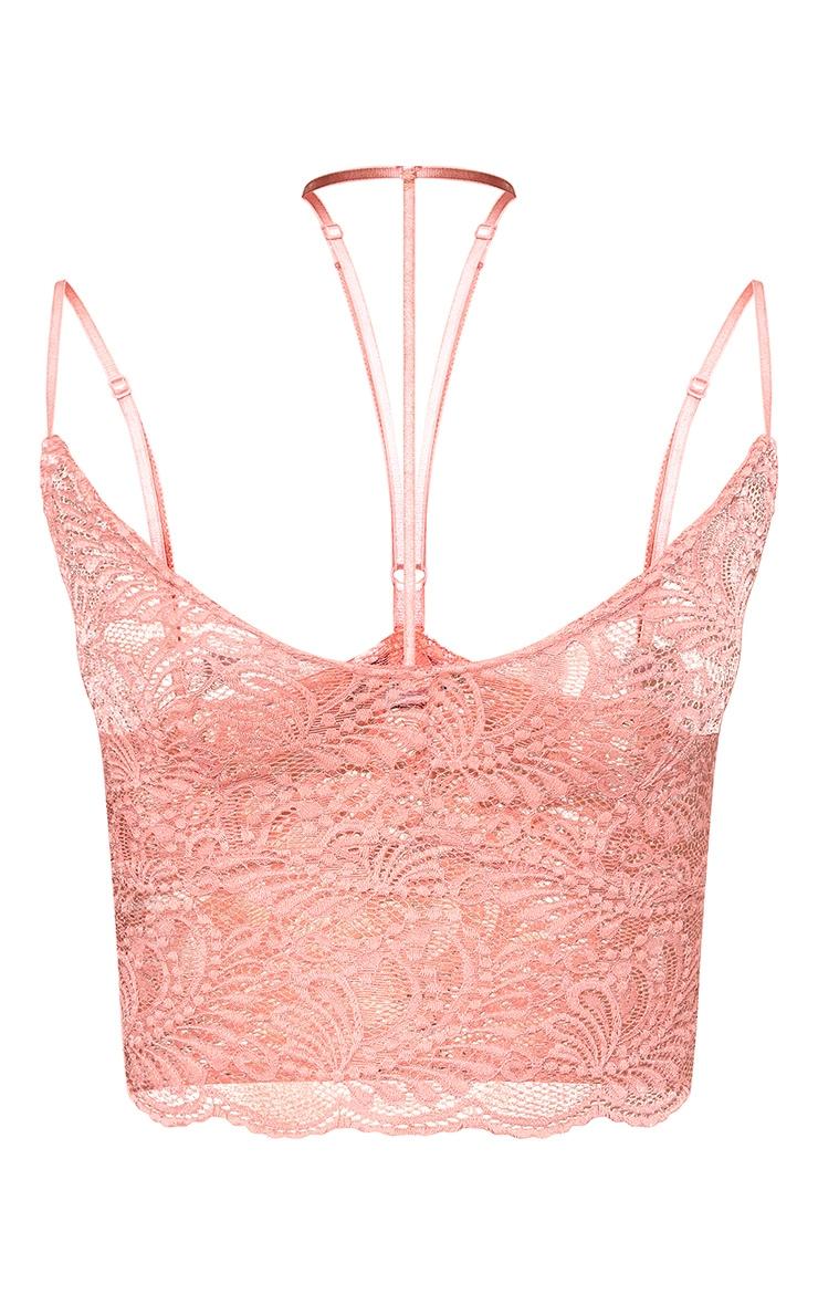 Rose Indya Sheer Lace Choker Strap Crop Top 3