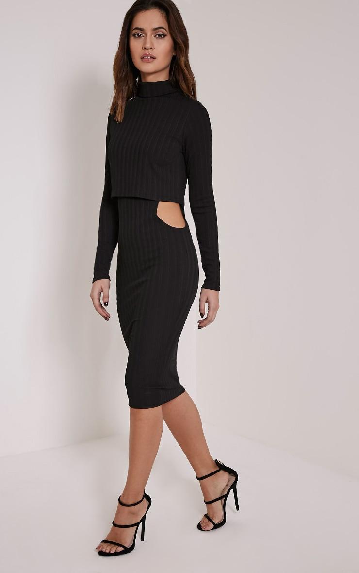 Alma Black Ribbed Cut Out Long Sleeve Midi Dress 5