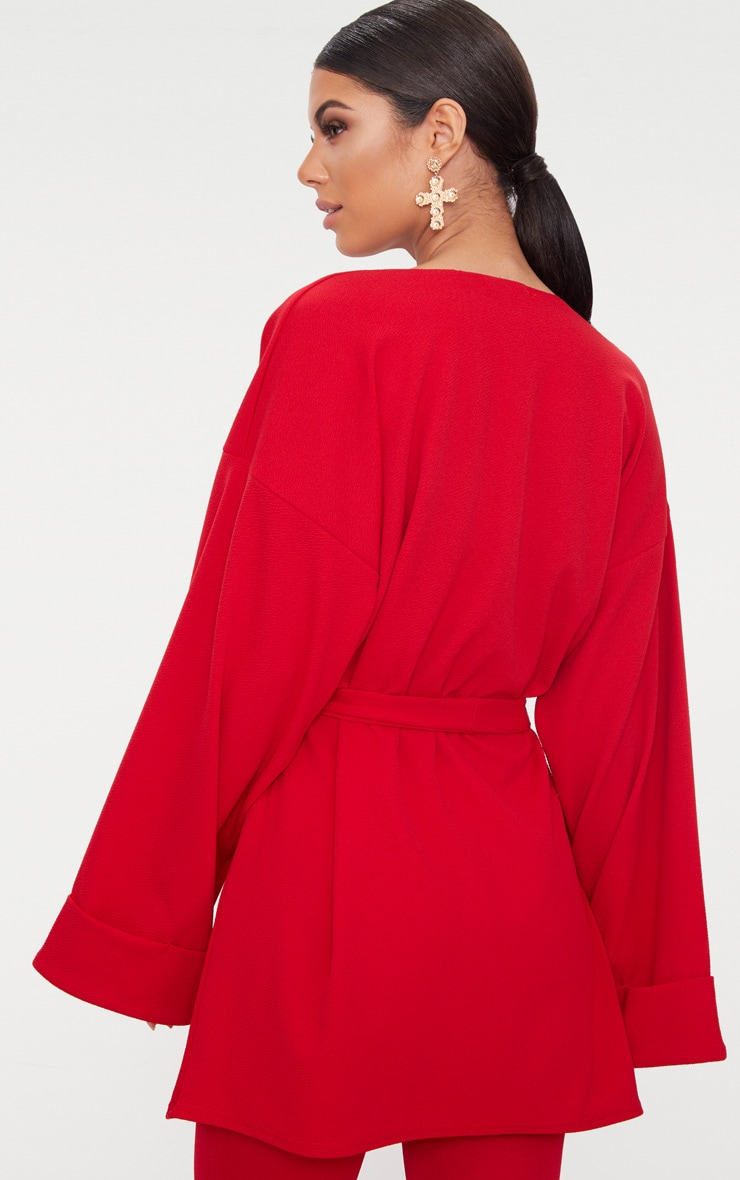 Red Belted Oversized Sleeve Blazer 2